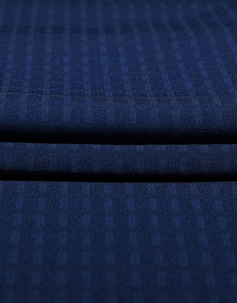 Blue embossed Polyester stretch YSA784